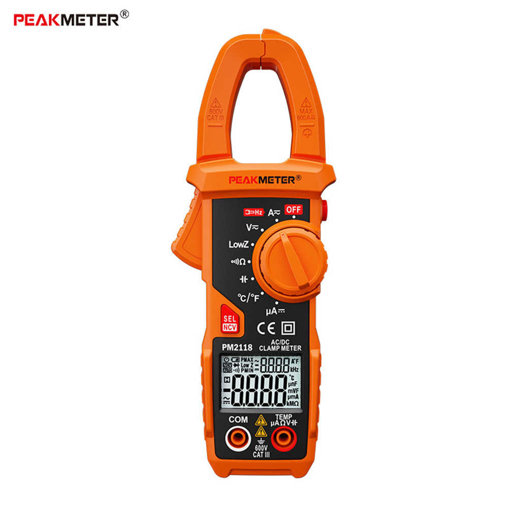 PEAKMETER PM2118 Smart AC/DC Clamp Meter Multimeter Current Voltage Resistance Continuity Measurement Tester with NCV