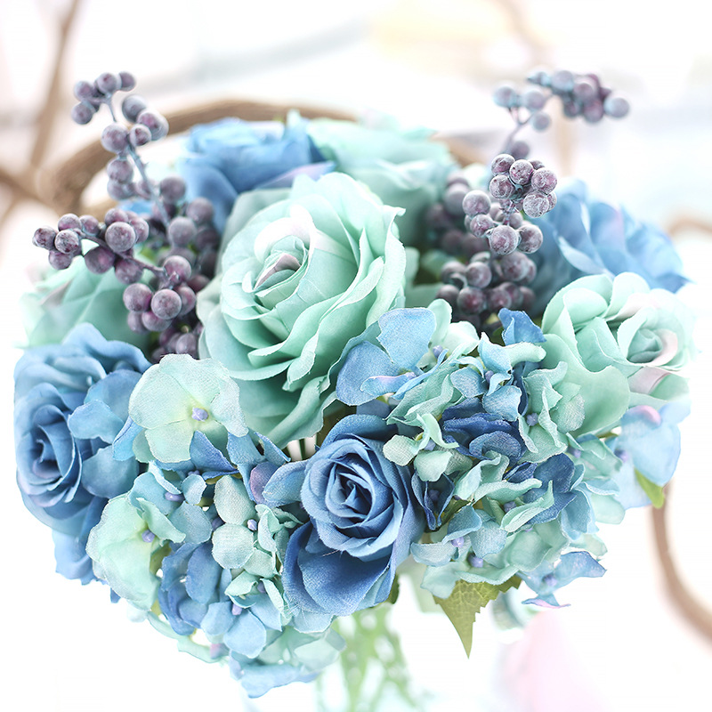 Silk Rose Bridal Wedding Bouquets Blue Flowers Artificial Rose Bride ...