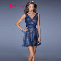 12 Color Available Short Evening Dress Sequin Fabric Fashion Sexy V Neck A Line Bride Party