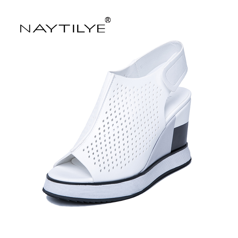 NAYTILYE ECO-leather gladiator sandals Summer shoes woman back strap super high heels wedges hook&loop pink white size 35-40 yeerfa 2017 gladiator sandals gold silver shoes woman summer platform wedges glitters creepers casual women shoes size 35 40