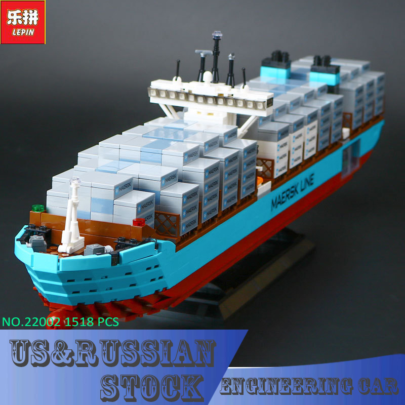 Lepin 22002 Technic Series The Maersk Cargo Container Ship Set Educational Building Blocks Bricks 1518Pcs Model Toys Gift lepin 22002 1518pcs the maersk cargo container ship set educational building blocks bricks model toys compatible legoed 10241