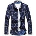 Новый 2017 весна плюс размер повседневная длинные рубашки мужчины мода печатные мужчины рубашка camiseta masculina 3-colors размер м-7xl CS1-2