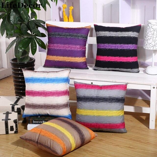 Velveteen Cushion Covers Euro Stripe Pillowcase Sofa Backrest