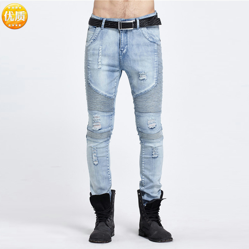 2017 mens jeans Stitching stretch feet pants Fashion ripped jeans