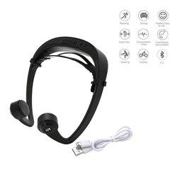 Bezprzewodowe słuchawki 4.2 z przewodnictwem kostnym słuchawki z mikrofonem redukcja szumów słuchawki sportowe na świeżym powietrzu czarny