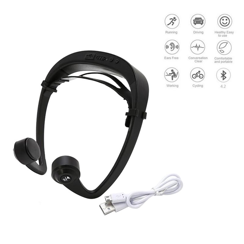 Wireless Earphone 4.2 Bone Conduction Headphones With Mic Noise Reduction Outdoor Sports Headphones Black цена
