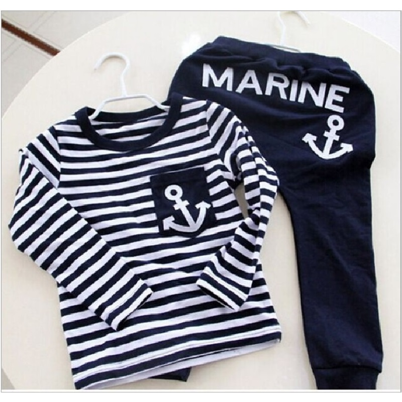 Marine Navy Sailor Boys Clothes Suits Children Sport Suit Kids Tracksuit Boy T Shirts Trouser Sets