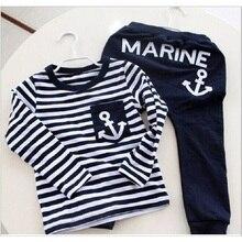 Marine Marine Marin Garçons Vêtements Costumes Enfants Sport Costume Enfants survêtement Garçon T-Shirts Pantalon Ensembles Bébé T-shirt Pantalon 100% coton