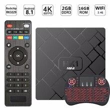 лучшая цена NEW HK1 Mini Android 8.1 Smart TV BOX 2GB 16GB Rockchip RK3229 Quad-Core 2.4G WIFI 4K 1080P HD Set-Top Box HK1mini Netflix