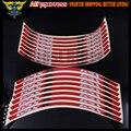 16 pcs Azul/Vermelho Da Motocicleta Motos Roda Adesivos Refletivos Rim Stripe Tape com Logotipo para SUZUKI GSXR600 GSXR750 GSXR GSXR1000