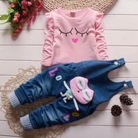 女の子春の秋のファッション長袖スーツtシャツ+デニムオーバーオールパンツベビー女の子服女の赤ちゃん