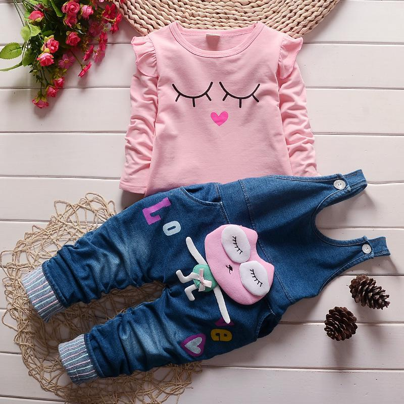 Girls spring autumn fashion long sleeve suit t shirt+denim overalls pants baby girls clothing baby girl clothes free shipping children clothing spring girl three dimensional embroidery 100% cotton suit long sleeve t shirt pants