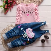 Girls spring autumn fashion long sleeve suit t shirt denim overalls pants baby girls clothing baby