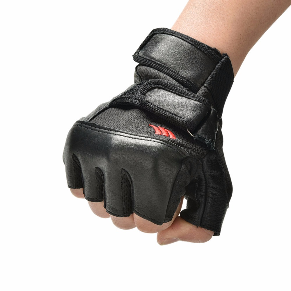 Black Leather Weight Lifting Workout Gloves: PU Leather Weight Lifting Gym Gloves 1Pair Men Black