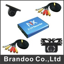 Free shipping Mexico car DVR system, 2 cameras recording at same time, support 128GB sd card, 5M video cable including