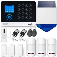 WG11 2.4 Inch TFT Screen WIFI GSM Wireless Home Security Alarm System Motion Detector APP Control Solar Siren Smoke Detector Kit