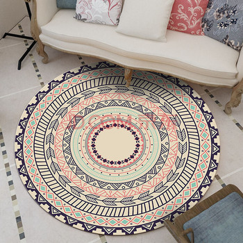 Mandala Retro Ethnic Fashion Kitchen Bathroom Anti Slip round Rugs Home Entrance round floor carpet Door Mat tapis Decoration