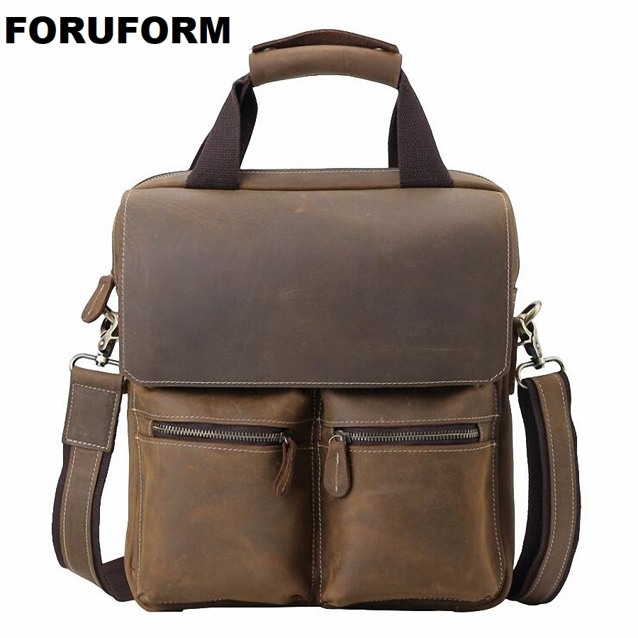 100% Genuine Leather Men Messenger Bag Casual Crossbody Bag Business Briefcase Men's Handbag Bags For Gift Shoulder Bags LI-1885 women handbag shoulder bag messenger bag casual colorful canvas crossbody bags for girl student waterproof nylon laptop tote