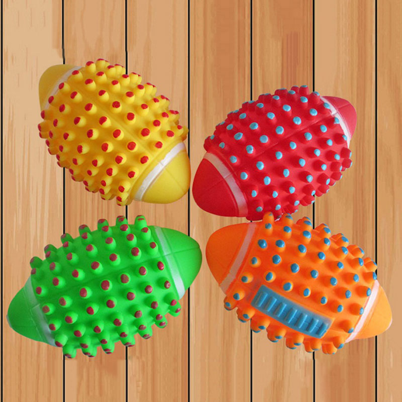 Dia. 12cm Squeaky Dog Toys Pet  Interactive Toy Colorful Football Chew Pets Dogs toys for Large Cats
