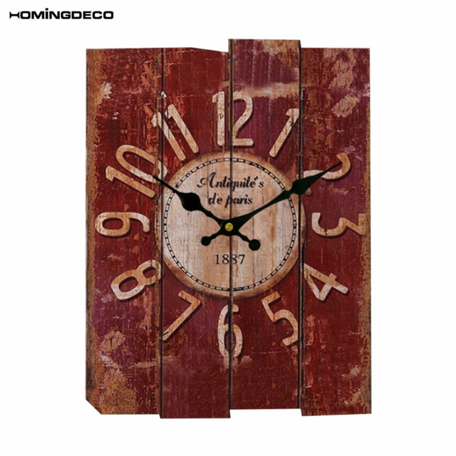 Homingdeco Creative Wall Clock Vintage Home Decor Square Hanging Clock Livingroom Wall Clock For Living Room Club Bar Decor