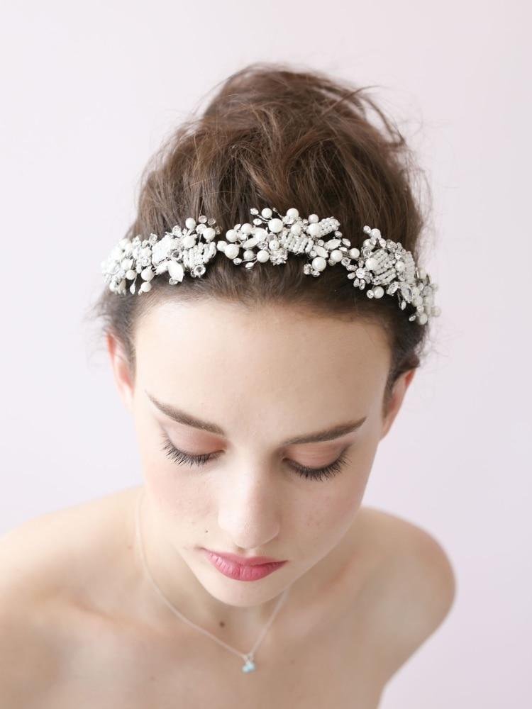 Handmade Wedding Tiara Headband Crystal Pearl Flower Head Piece Bride Vintage Bridal Headpieces Hair Jewelry Accessory