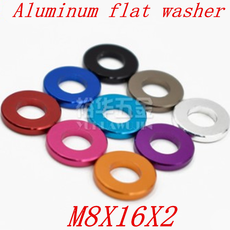 5pcs/lot 11 type M8*16*2  M8 Aluminum Colourful Anodized Flat Gasket washer for RC part5pcs/lot 11 type M8*16*2  M8 Aluminum Colourful Anodized Flat Gasket washer for RC part