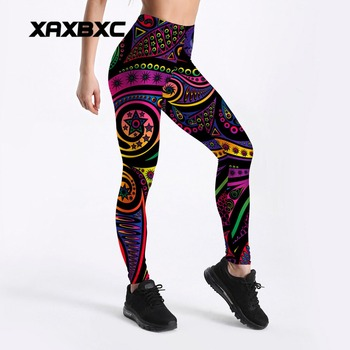 2018 New Rainbow Paisley Mandala Prints 3D Printed GYM Fitness Push Up Sexy Women Sport Yoga Pants Female Leggings Plus Size