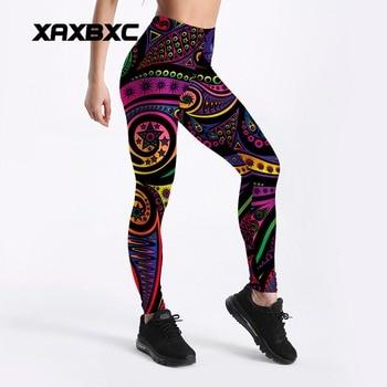 2018 New Rainbow Paisley Mandala Prints 3D Printed GYM Fitness Push Up Sexy Women Sport Yoga Pants Female Leggings Plus Size