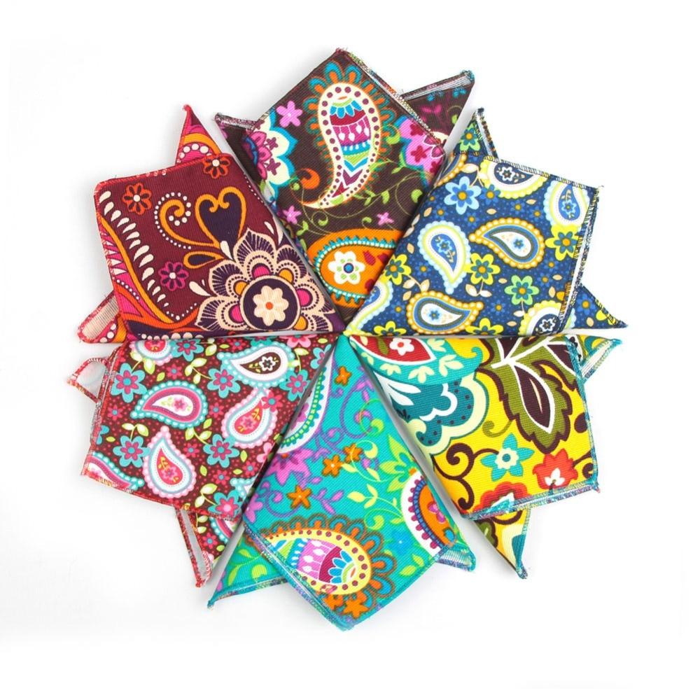 Handkerchiefs Men Cotton Pocket Square Dress Handkerchief Mens Pocket Squares Flower Hankerchief Hanky Towel