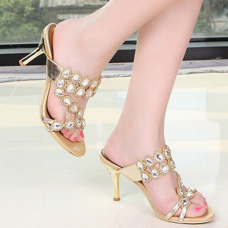 c4fb0c689fdfcf Summer Fashion Women High Heel Sandals Sparkling Prom Shoes Rhinestone  Slippers Gold Pink Wedding Party Shoes Plus size 41 43-in Slippers from  Shoes on ...