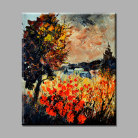 Abstract Oil Painting Tree And Red Flower Scenery Canvas Art Paintings On The Wall Decorative Pictures