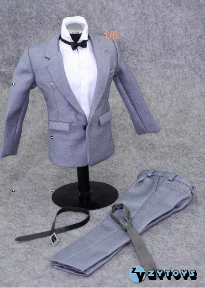 1:6 Scale Model Gray Suit Set Clothing Accessories For 12 Action Figure Male Nude Body Model Toys 1 6 scale nude male body figure muscle man soldier model toys for 12 action figure doll accessories