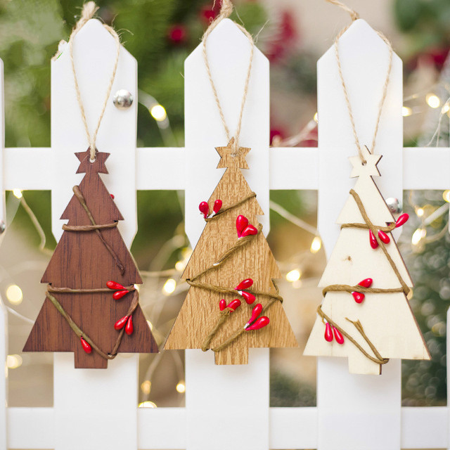 Cute Christmas Tree Rattan Wooden Pendants Ornaments Diy Wood Crafts