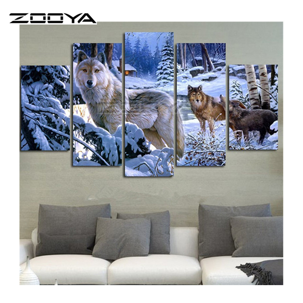 aliexpress com buy zooya 5d diy diamond painting crystal cross stitch home decorative 3d full square diamond embroidery 5pc set snow wolf bk152 from