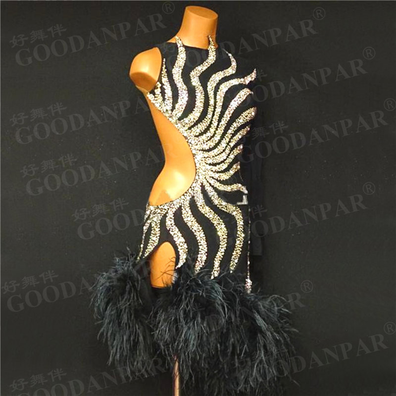 GOODANPAR Sexy Feather Standard Dress Latin Dance Wear Woman Girls Costume Sleeveless Samba Rumba Salsa Competition Clothes