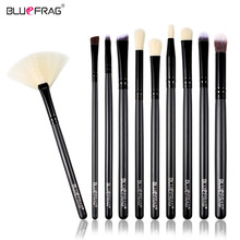 BLUEFRAG Wood 10 pcs/set Professional Portable Makeup Brushes of Eye Blending Eyeshadow Smudge Shading Brushes Brand Retail