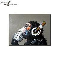 Orangutan Gorilla Listen To Music Handmade Oil Painting Unframed Animal Wall Decor Painting