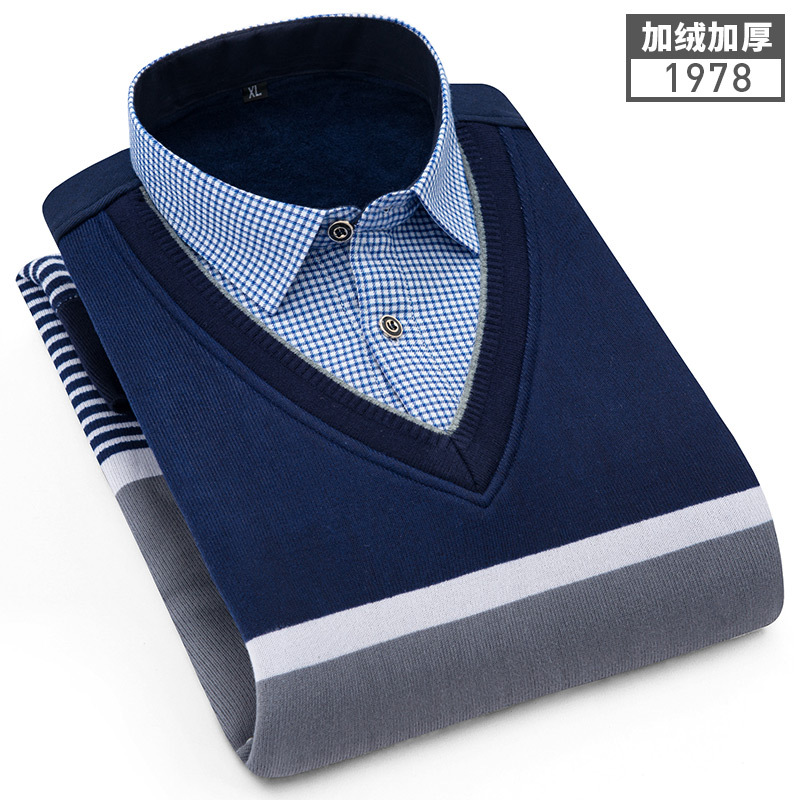 Men's Warm Shirts Plushed and Thickened Fake Two Knitted Shirts Men's Sweaters Pullovers