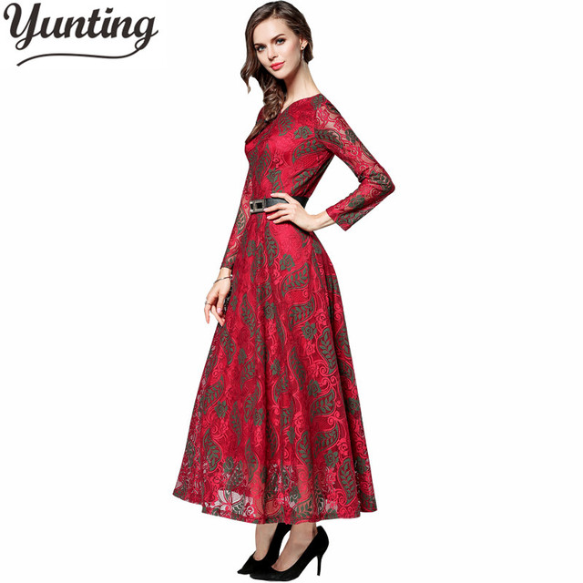 Sexy 2018 Summer Elegant Long Sleeve Embroidery Cutout Floral Lace Dresses  Women Fashion Quality Long Maxi Flare Vestido