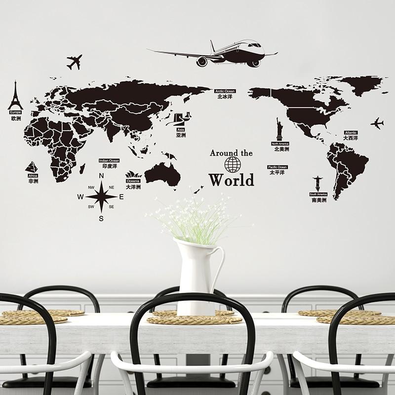 [SHIJUEHEZI] Qara Rəng Dünya xəritəsi Divar Stikeri Vinil DIY - Ev dekoru - Fotoqrafiya 6