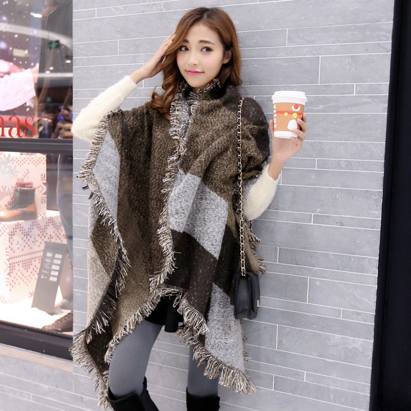Winter Warm Women Poncho Scarf 2018 Vintage Plaid Long Scarf Oversized  Tassel Cashmere Wool Scarves Wrap Pashmina Cachecol Shawl-in Women s  Scarves from ... 6382a2c45b