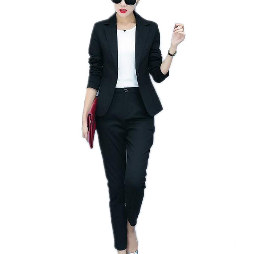 2017 Fashion New Korean Style OL Elegant Women Pant Suits Formal Business Suit Wear Full Sleeve ...