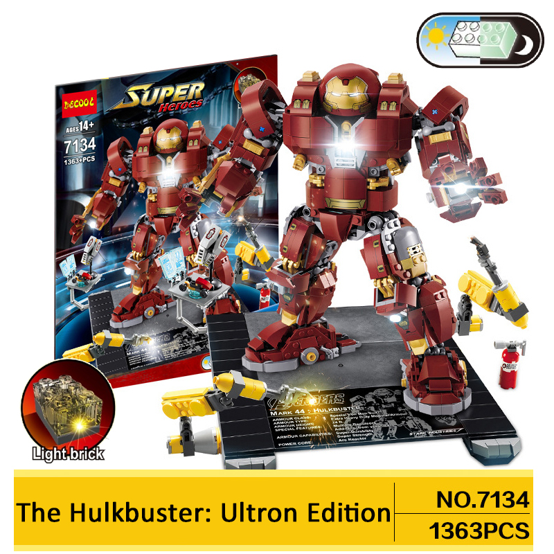Decool 1363pcs Hulkbuster Building Blocks LED light legoings Marvel Super Heroes 76105 Avengers Ironman Hulk Mini Toys Figures