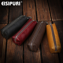 EISIPURI Genuine Cow Leather Men Women Key Bag Small Business Kay Case Women Housekeepers Wholesale cheap Genuine Leather Unisex Casual 14 5cm Key Wallets EY112 Solid