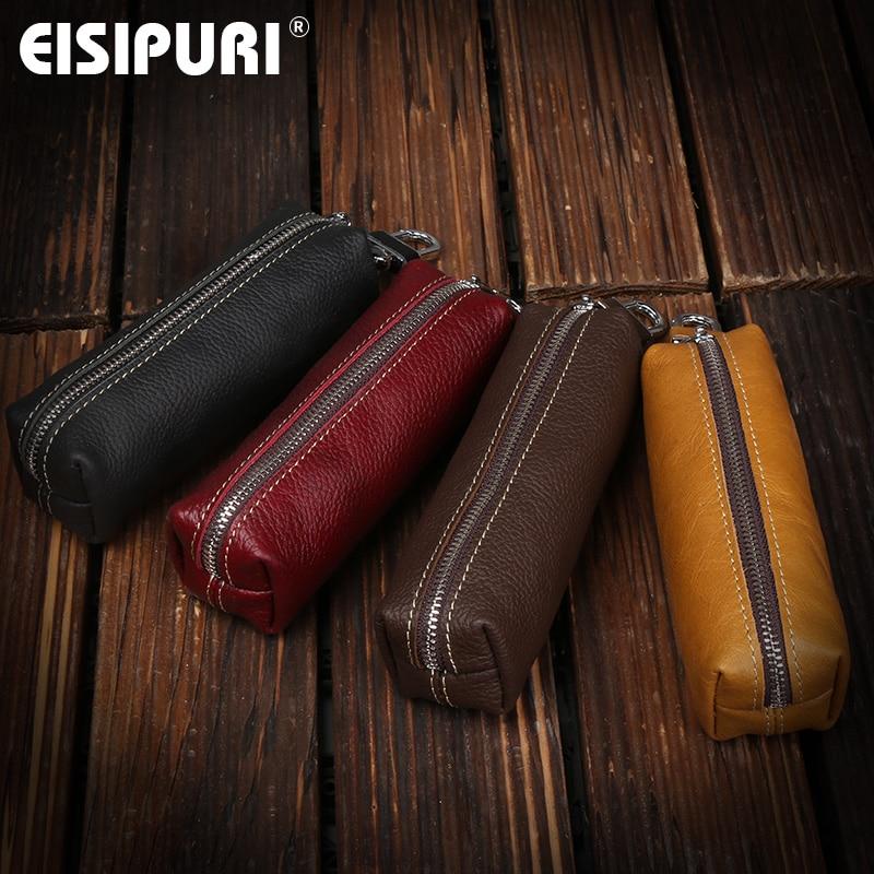 EISIPURI Genuine Cow Leather Men Women Key Bag Small Business Kay Case Women Housekeepers Wholesale