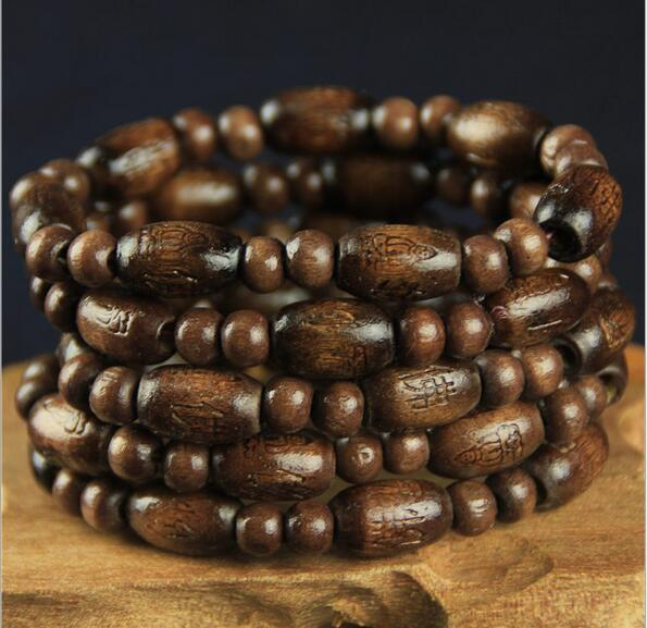 2ps Set Fashion Wooden Beaded Bracelet Clic Wood Buddha For Women Mens Natural Elastic