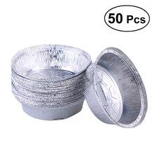 50 шт. 6 дюймов Круглая Алюминиевая фольга одноразовая тарелка вынимает кастрюли идеально подходит для приготовления пищи, Пирогов, тортов, мяса(без крышек