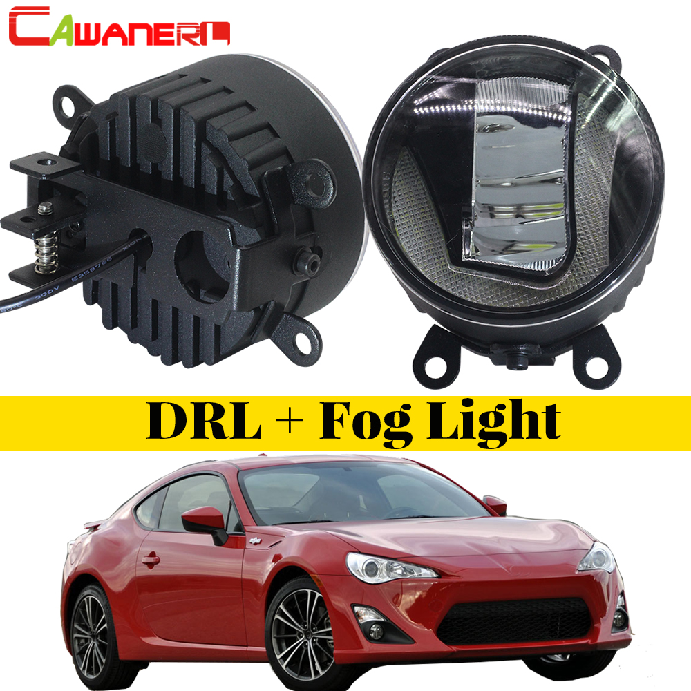 Cawanerl For Scion FR-S FRS 2013 Onwards 2 Pieces Car Accessories 2in1 LED Fog Light + Daytime Running Lamp DRL White cawanerl for honda insight 2010 2014 car accessories 2in1 led fog light drl daytime running lamp white 5000k 12v 2 pieces