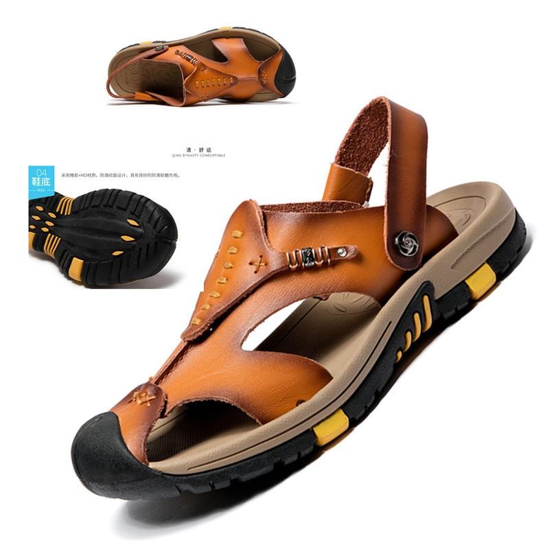 2018 Új stílus divat valódi bőr nyári szandál Új bőr strand - Férfi cipők
