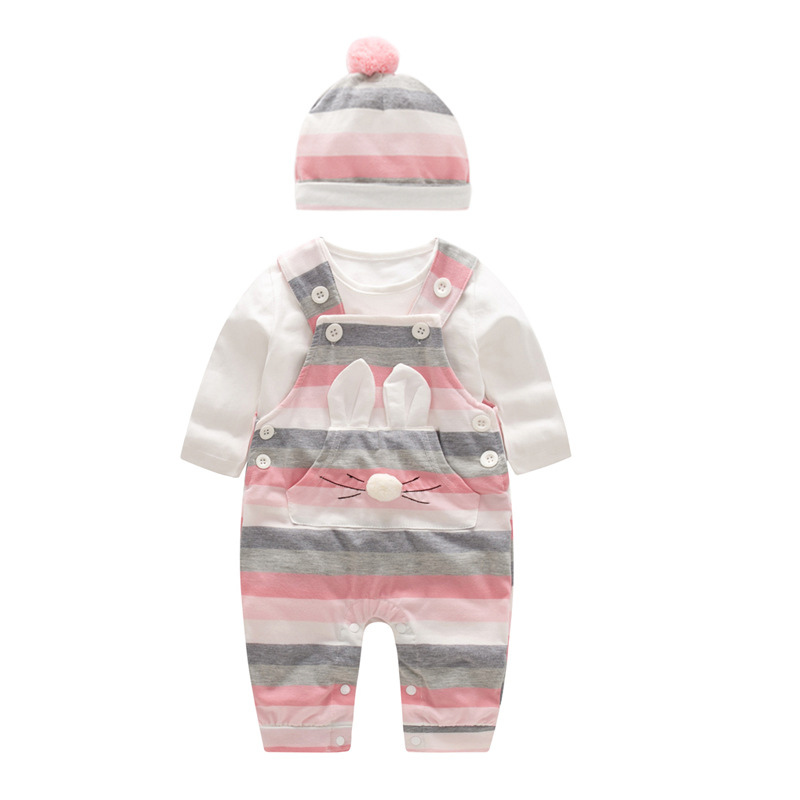 все цены на 2018 Fashion Baby Girl Clothes Sets Spring Autumn Clothing long sleeve Romper with hat Rabbit Baby Set Clothes newborn clothes
